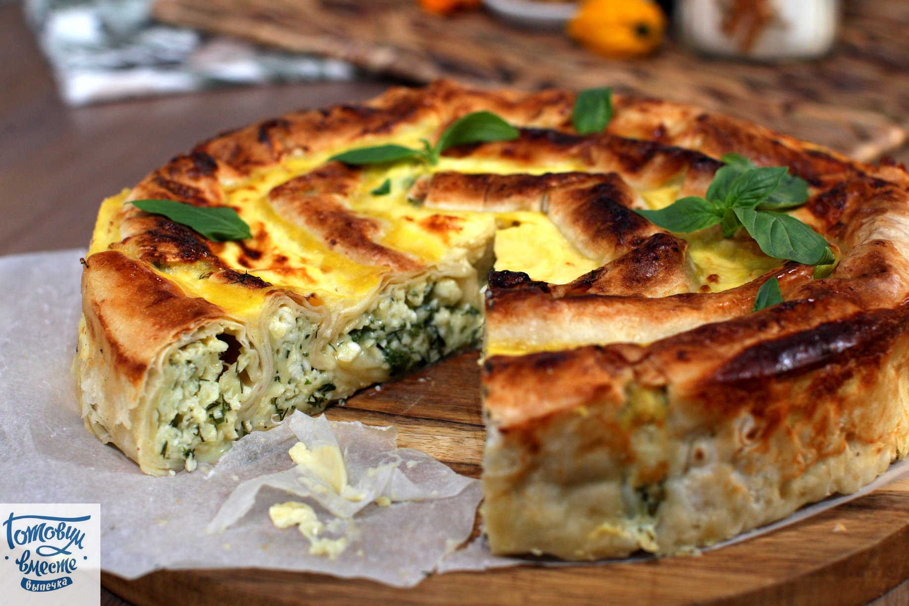 Рецепт Баница из лаваша с творогом, сыром и зеленью