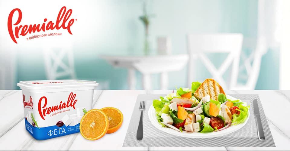 Салат с курицей, апельсином и фетой