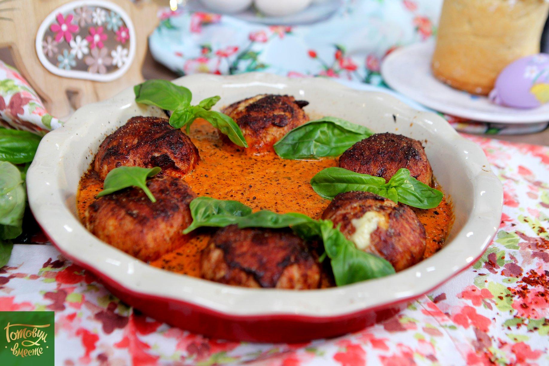 Котлеты с сыром в томатно-сливочном соусе