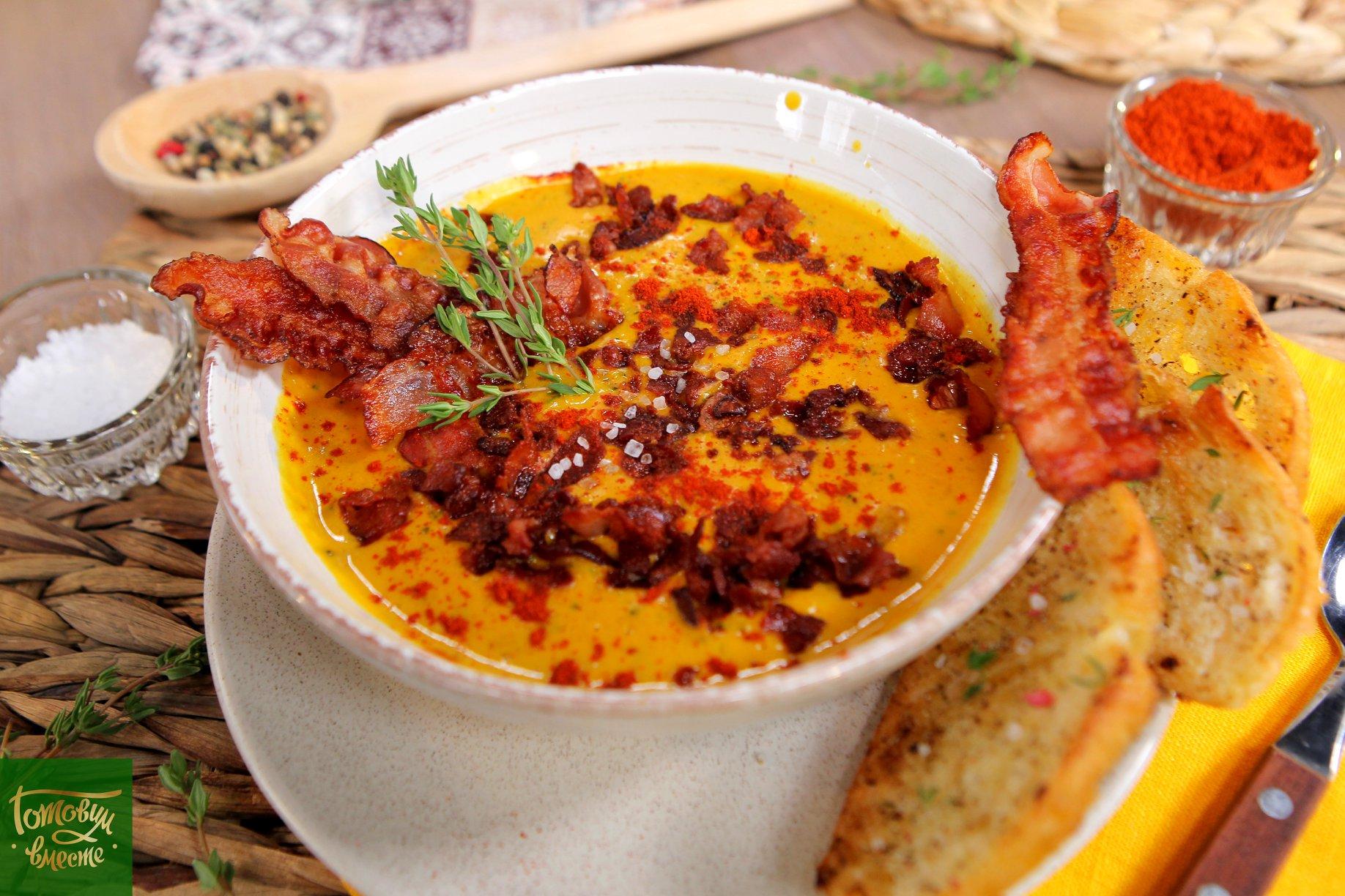 Сырный суп на пиве с беконом и брокколи