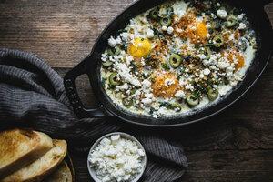 Яйца запеченные с мангольдом оливками и фетой