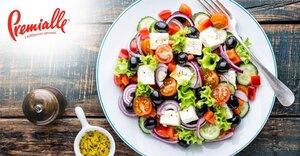 Теплый салат с баклажанами, болгарским перцем и фетой