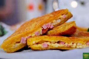 Жаренный сэндвич с ветчиной и сыром