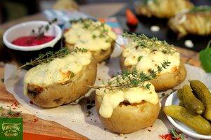 Фаршированный картофель под шубой из пюре