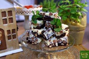 Шоколадные ириски из сгущенки с орехами