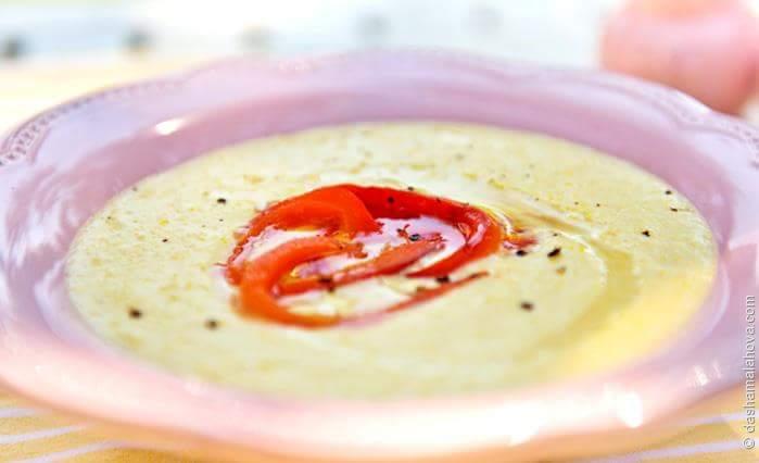 Крем-суп из кукурузы с запеченным болгарским перцем