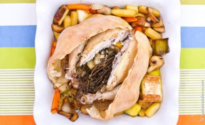 Цыпленок в тесте с овощами